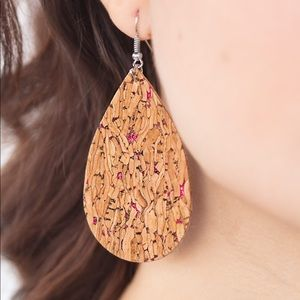 Pink Accent Cork Earrings NWT